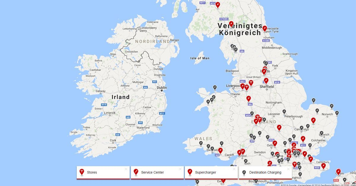 Tesla expandiert 2017 nach Irland - Neue Supercharger & Store